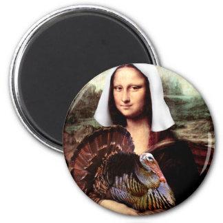 Pélerine de Mona Lisa de thanksgiving Magnet Rond 8 Cm