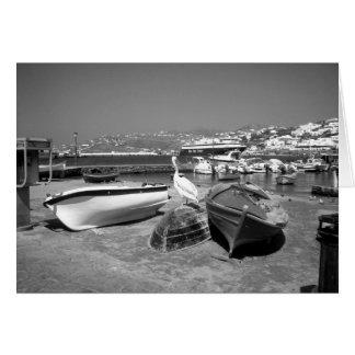 Pélican et bateaux (BandW) Carte De Vœux