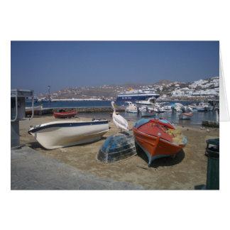 Pélican et bateaux carte de vœux