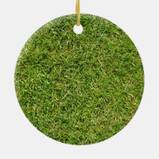 Pelouse drôle d'herbe verte ornement rond en céramique