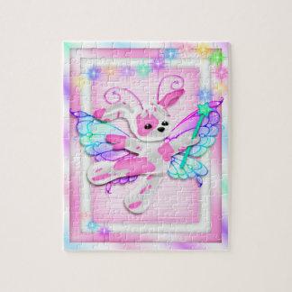 Peluche rose mignonne de fée de chiot puzzle avec photo