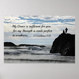 Pendant 2 12:9 de Corinthiens ma grâce est Affiches
