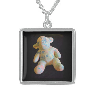 Pendentif polychrome/collier d'argent sterling