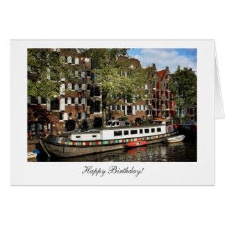 Péniche de canal d'Amsterdam - joyeux anniversaire Carte De Vœux