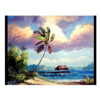 Péniche tropicale cartes postales