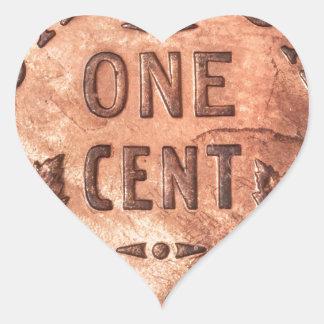 Penny canadien autocollant en cœur
