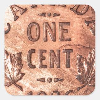 Penny canadien autocollants carrés