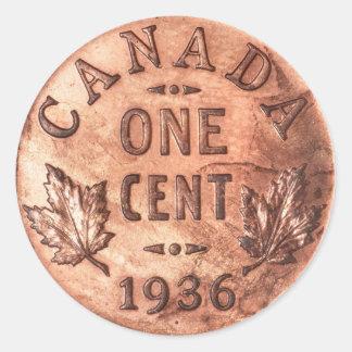 Penny canadien adhésifs ronds