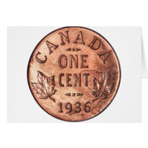 Penny canadien carte de vœux