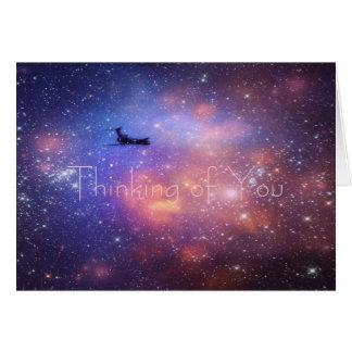 Pensée à vous carte de note d'avion de l'espace