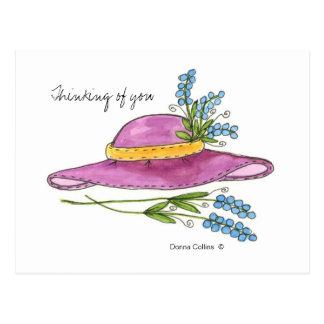 Pensée à vous carte postale de casquette de rose