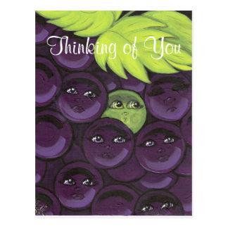 Pensée à vous carte postale de raisins