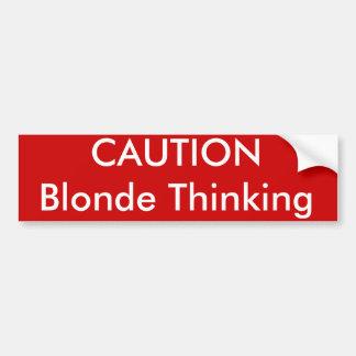 Pensée de blonde de PRÉCAUTION Autocollant Pour Voiture