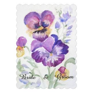 Pensées florales d aquarelle invitations