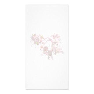 Pensées roses et magenta cartes de vœux avec photo