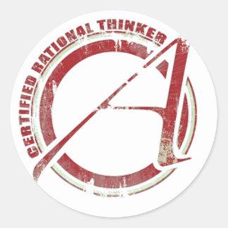 Penseur rationnel certifié sticker rond