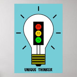 Penseur unique d'ampoule déprimée de feu d'arrêt poster