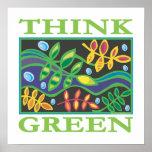 Pensez ambiant vert posters