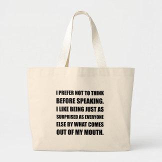 Pensez avant de parler la surprise grand sac
