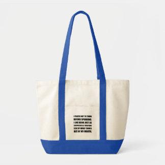 Pensez avant de parler la surprise sacs en toile