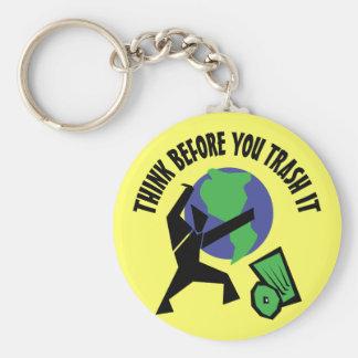 Pensez avant que vous Trash le Porte-clé Rond