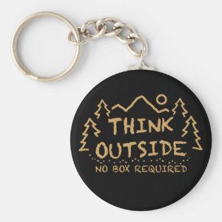 Pensez dehors, aucune boîte requise porte-clé rond