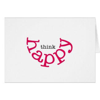 Pensez heureux (le sourire rouge) carte de vœux