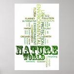 Pensez l'affiche de l'environnement de nature vert