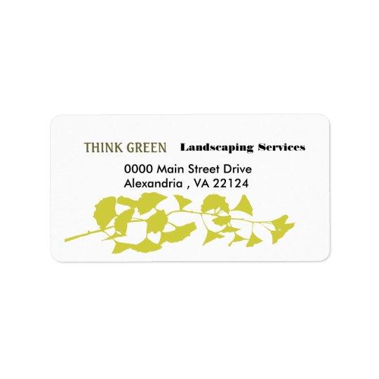 Pensez l'aménagement vert étiquette d'adresse