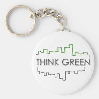 Pensez le porte - clé vert de la conception | porte-clé rond