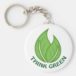 Pensez le porte - clé vert porte-clé rond