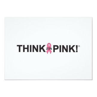 Pensez le rose carton d'invitation  12,7 cm x 17,78 cm