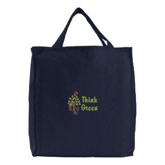 Pensez le sac fourre - tout brodé par vert