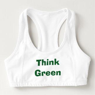 Pensez le soutien-gorge vert de sports brassière