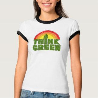Pensez le T-shirt vintage vert de style