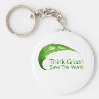 Pensez le vert porte-clé rond