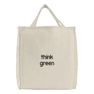 pensez le vert sac brodé