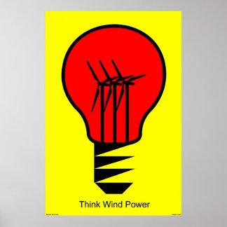 Pensez l'énergie éolienne affiche