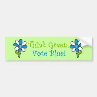 Pensez les adhésifs pour pare-chocs verts de bleu  autocollant pour voiture