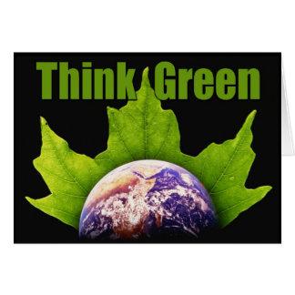 Pensez les cartes pour notes verts
