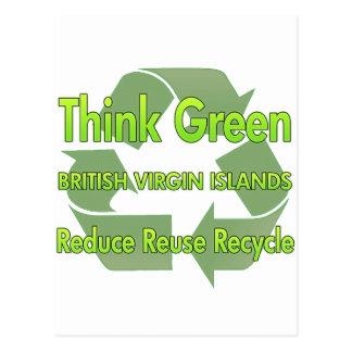 Pensez les Îles Vierges britanniques vertes Carte Postale
