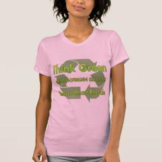 Pensez les Îles Vierges britanniques vertes T-shirt