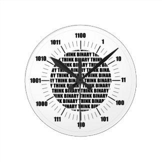 Pensez l'horloge binaire (l'humour de geek) horloge ronde
