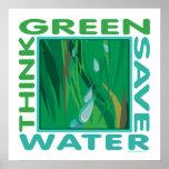 Pensez vert, l'eau d'économies posters
