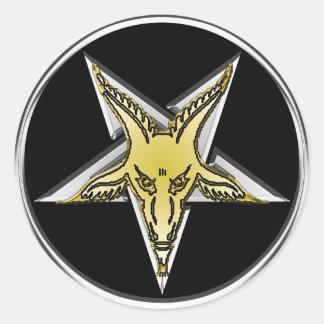 Pentagone étoilé argenté inversé avec la tête d or adhésif rond