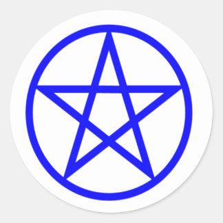 Pentagone étoilé bleu droit sticker rond