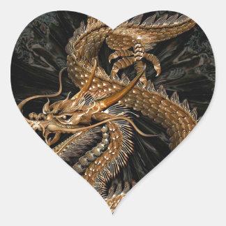 Pentagone étoilé de dragon sticker cœur