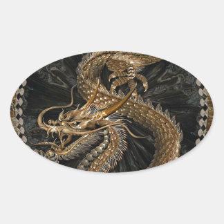 Pentagone étoilé de dragon sticker ovale
