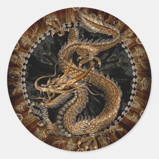 Pentagone étoilé de dragon sticker rond