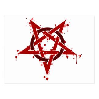 Pentagone étoilé repéré satanique rouge cartes postales